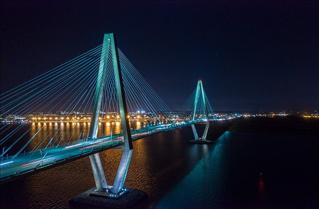 Arthur Ravenel Bridge at Night, Aerial