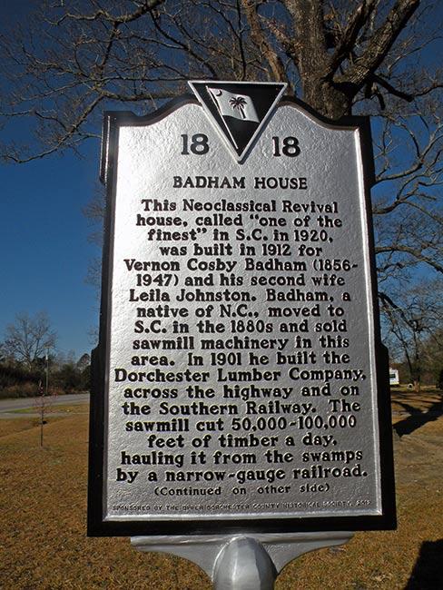Badham House Historical Marker