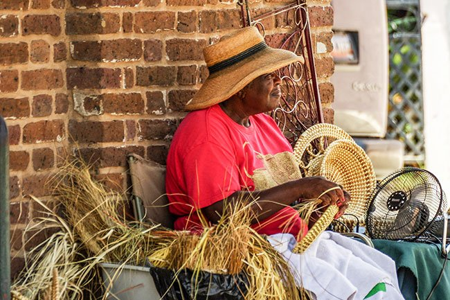 Sweetgrass Basket Maker at the Charleston City Market