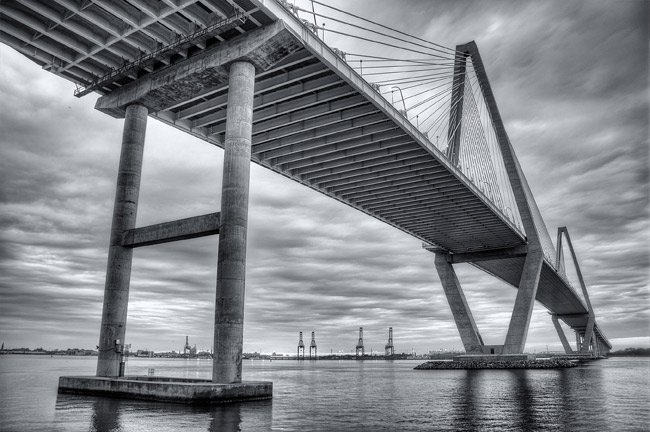 Cooper River Bridge in Black and White