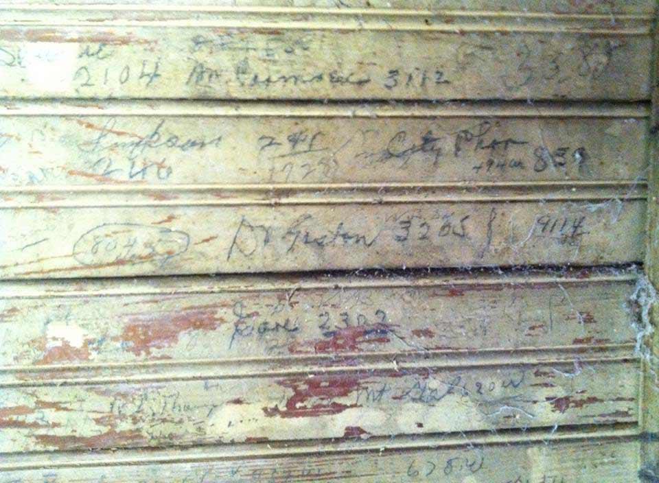 Faris Store Wall,, Handwriting