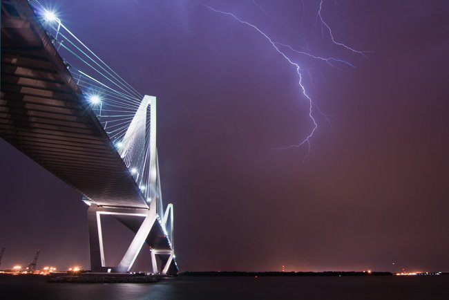 Lightening Strikes Ravenel Bridge