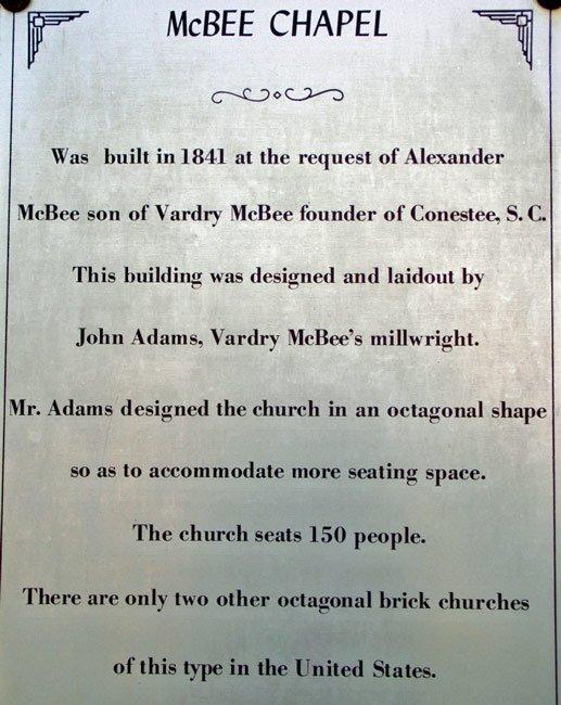 McBee Chapel Sign
