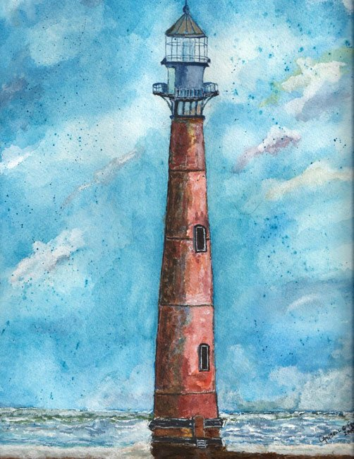 Morris Island Lighthouse Watercolor