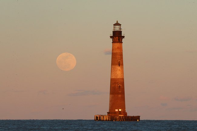 Morris Island Lighthouse with Moon