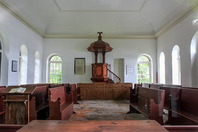 Pompion Hill Chapel Interior with Pulpit