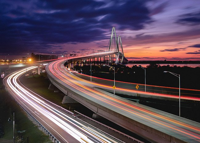 Ravenel Bridge with Light Trails