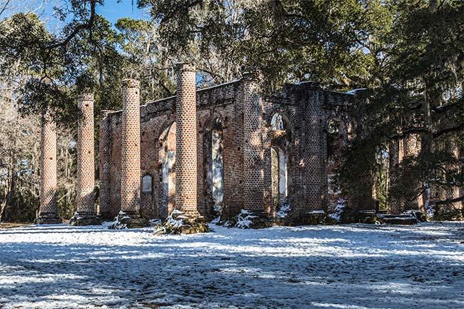 Sheldon Church Ruins in Snow