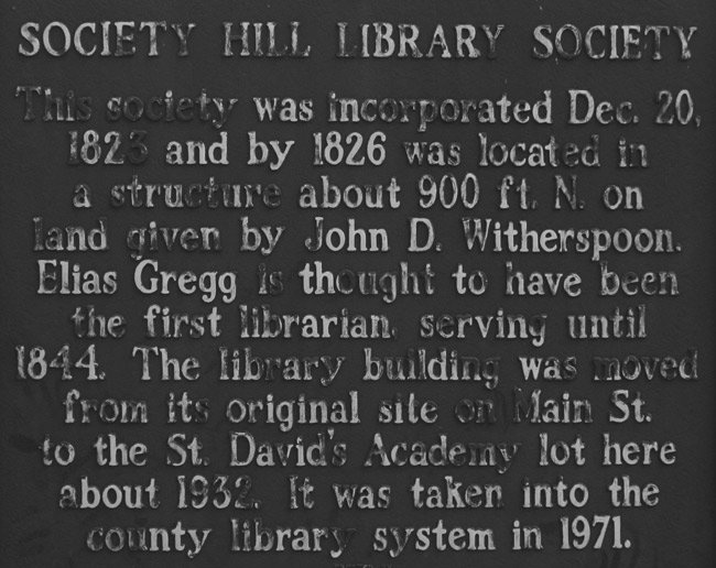 Society Hill Old Library Marker