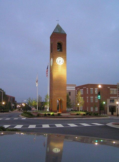 Spartanburg Town Clock in Morgan Square