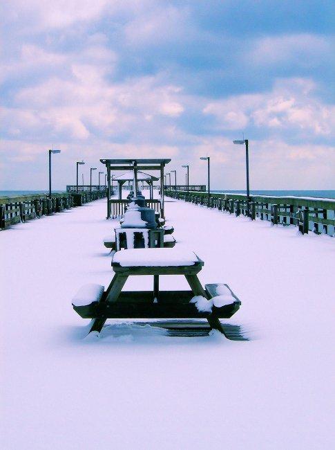 Snowy Day at Springmaid Pier in Myrtle Beach