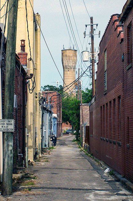 Walterboro Watertower seen from Alley